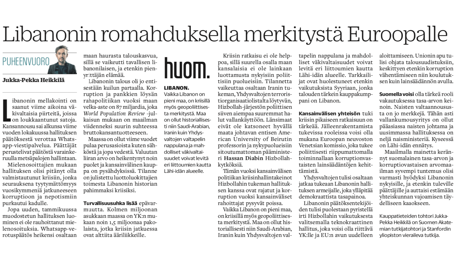 Expert column (Finnish / Turun Sanomat) The collapse of Lebanon has an impact on EU