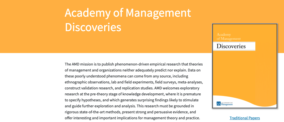Academy of Management Discoveries publication focusing on visioning entrepreneurial engagement